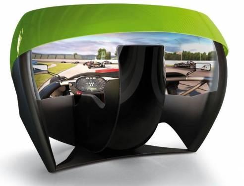 在大型安全帽裡玩賽車 環景模擬器超真實