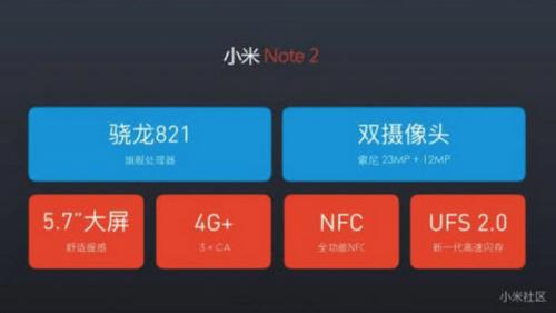 黑科技集於一身 小米Note 2規格曝光