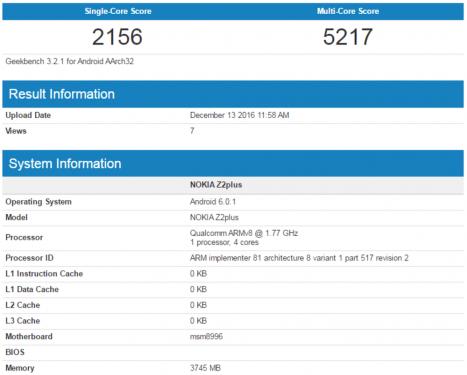 搭載Snapdragon 820處理器 4GB記憶體 Nokia Z2 Plus跑分曝光