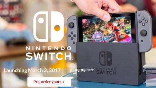 Nintendo Switch 3月3日正式上市 建議售價為299.99美元