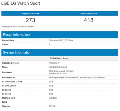 LG Watch Sport跑分成績曝光 與Apple Watch互別苗頭