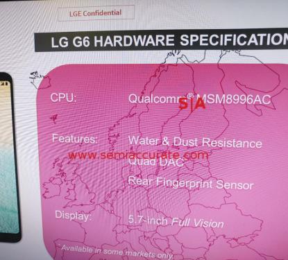 2月26日正式發表 LG G6將採用S821處理器