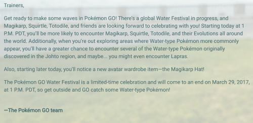 Pokemon GO精靈寶可夢 水系寶可夢慶典活動開跑