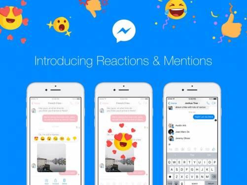 向iMessage致敬 Facebook Messenger推出Reactions Mentions新功能