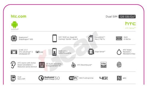 HTC U完整規格與6秒影片曝光 將搭載Edge Sense與第三代UltraPixel相機模組