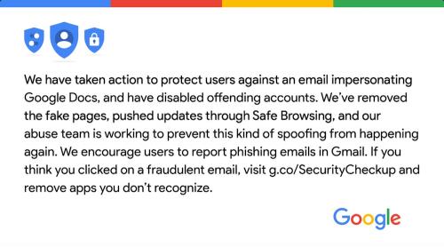 收到Google Docs郵件別亂點 小心自己的Google帳號遭到盜用