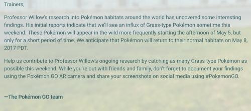 Pokemon GO精靈寶可夢GO新活動 夏季將至 草系寶可夢準備大量出沒