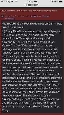 iOS11四大功能曝光 將提供用戶更省電 更清晰的使用體驗