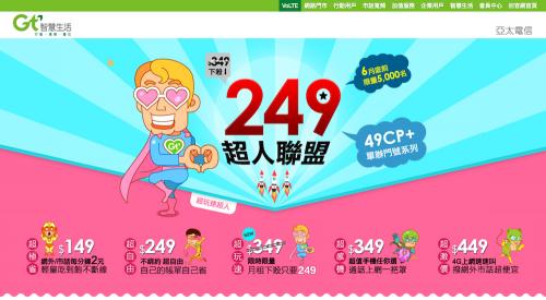 4G吃到飽只要NT 249 限時限量只在亞太電信網路門市