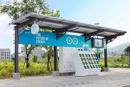 Gogoro 太陽能電池交換站 於新北八里驅動示範
