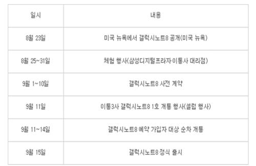 Galaxy Note 8 預計9月中韓國販售 相關活動即將開跑