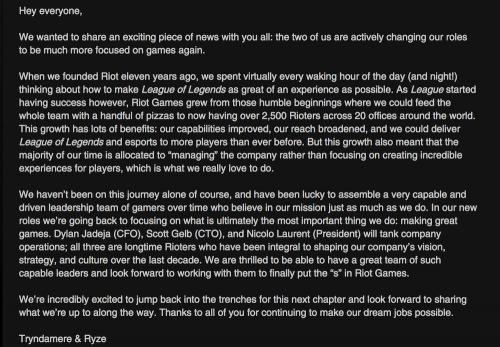 英雄聯盟 之後 Riot兩位創始人將投入新遊戲開發