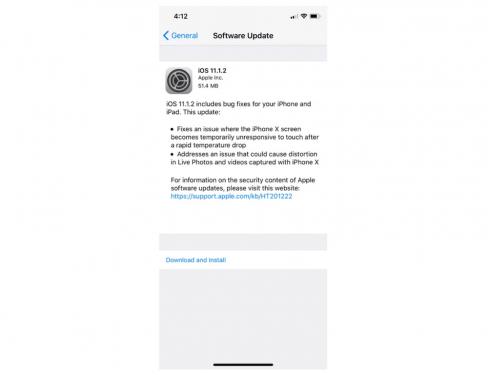 解決低溫觸控失靈 蘋果釋出 iOS 11.1.2版本更新