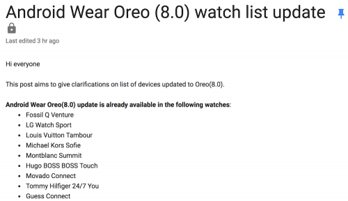 Google 公布未來可升級Oreo系統的 Android Wear 名單