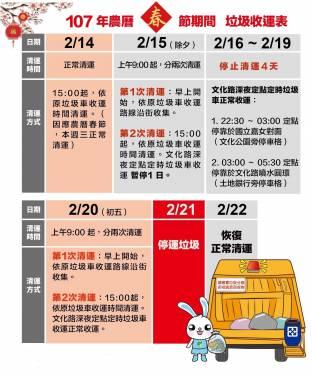 2018 農曆春節全國各地垃圾清運時程看這裡