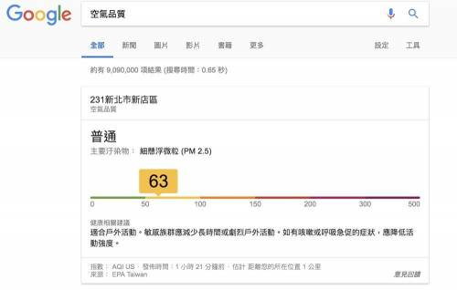Google 內建即時「空氣品質」查詢功能