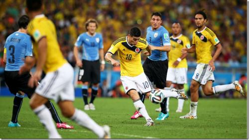 2014 世界盃足球賽 16強淘汰賽 哥倫比亞 對 烏拉圭 賽事結果