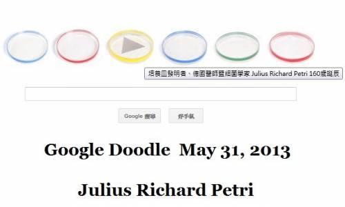 [Google Doodle] Julius Richard Petri 培養皿發明人 160歲誕辰