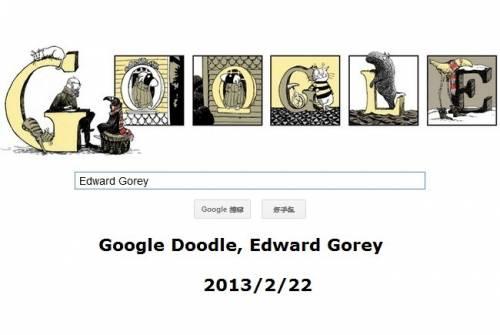 [Google Doodle] Edward Gorey 美國插畫家 88歲誕辰
