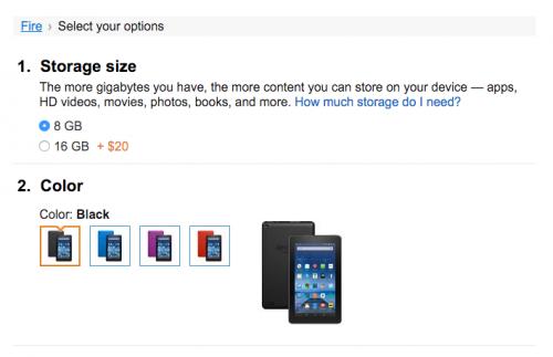 Amazon 7吋平板 Fire 加入新三色與16GB 選擇