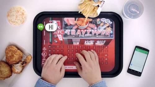 KFC 肯德基超薄鍵盤 Tray Typer 吃炸雞薯條不用滑手機也能上網